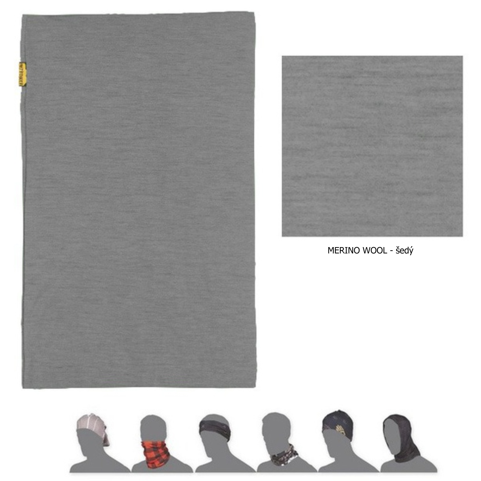 Sensor Multifunkční šátek Merino Wool Tube šedá