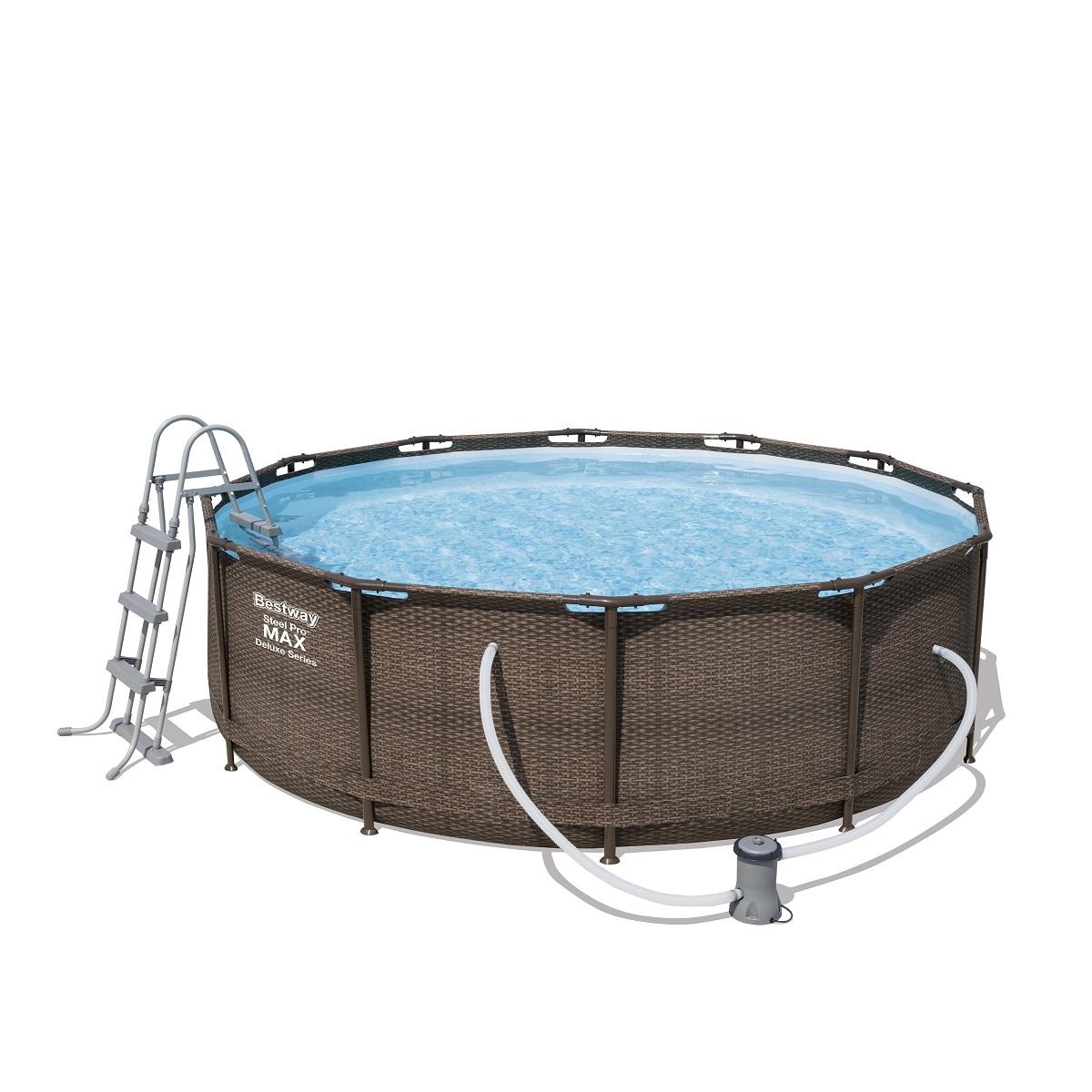 Bazén Steel Pro Max Deluxe 366 x 100 cm set s kartušovou filtrací - hnědý