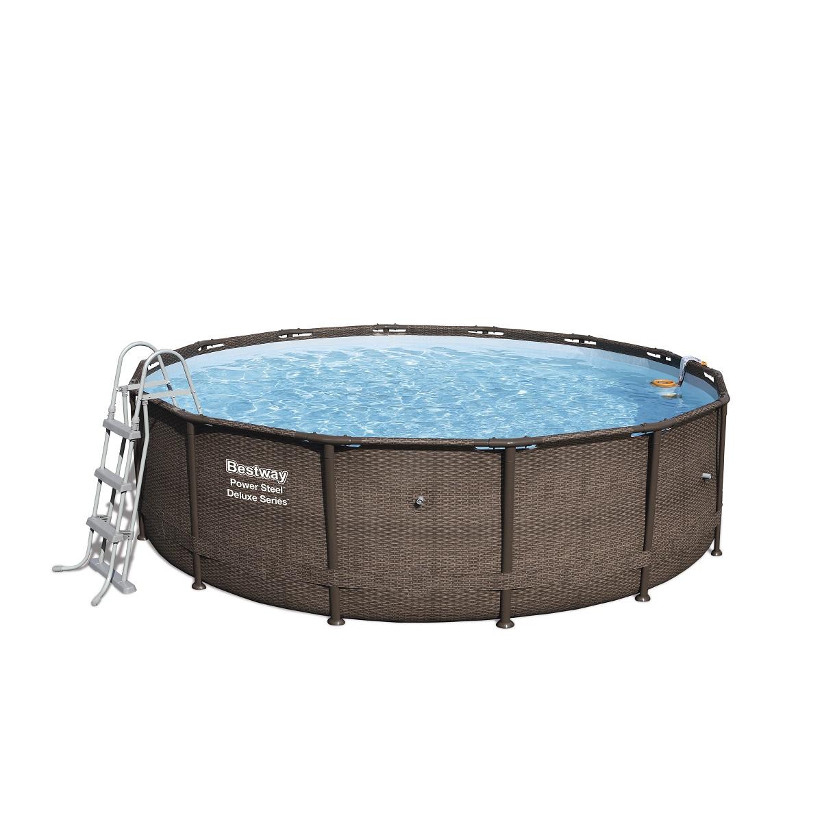 Bazén BESTWAY Power Steel Deluxe 427 x 107 cm set s filtrací - hnědý