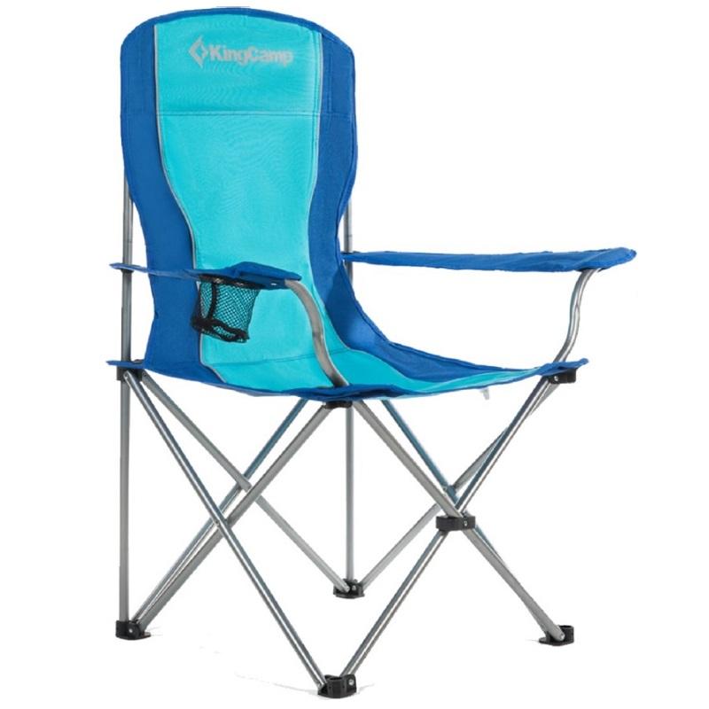 Kempingová skládací židle KING CAMP s opěrkami ocelová - modrá