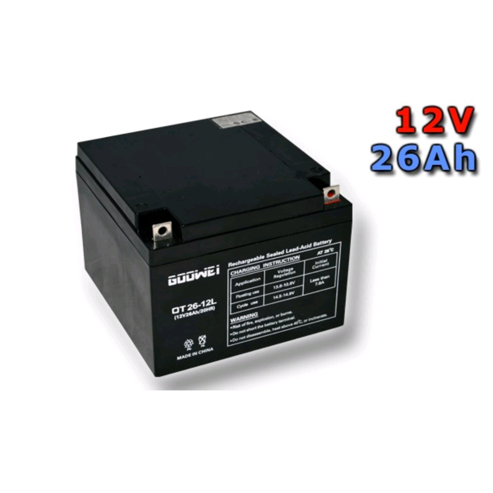 Trakční gelová baterie GOOWEI OTL26-12 26Ah