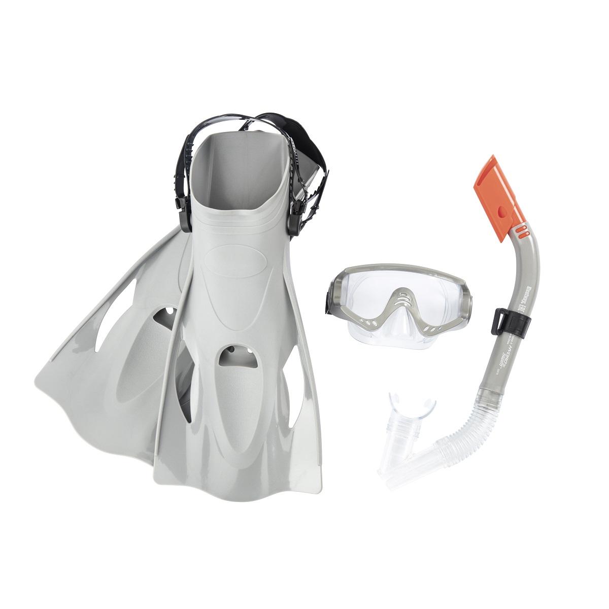 Potápěčský set BESTWAY Hydro Swim 25020 s ploutvemi - šedý