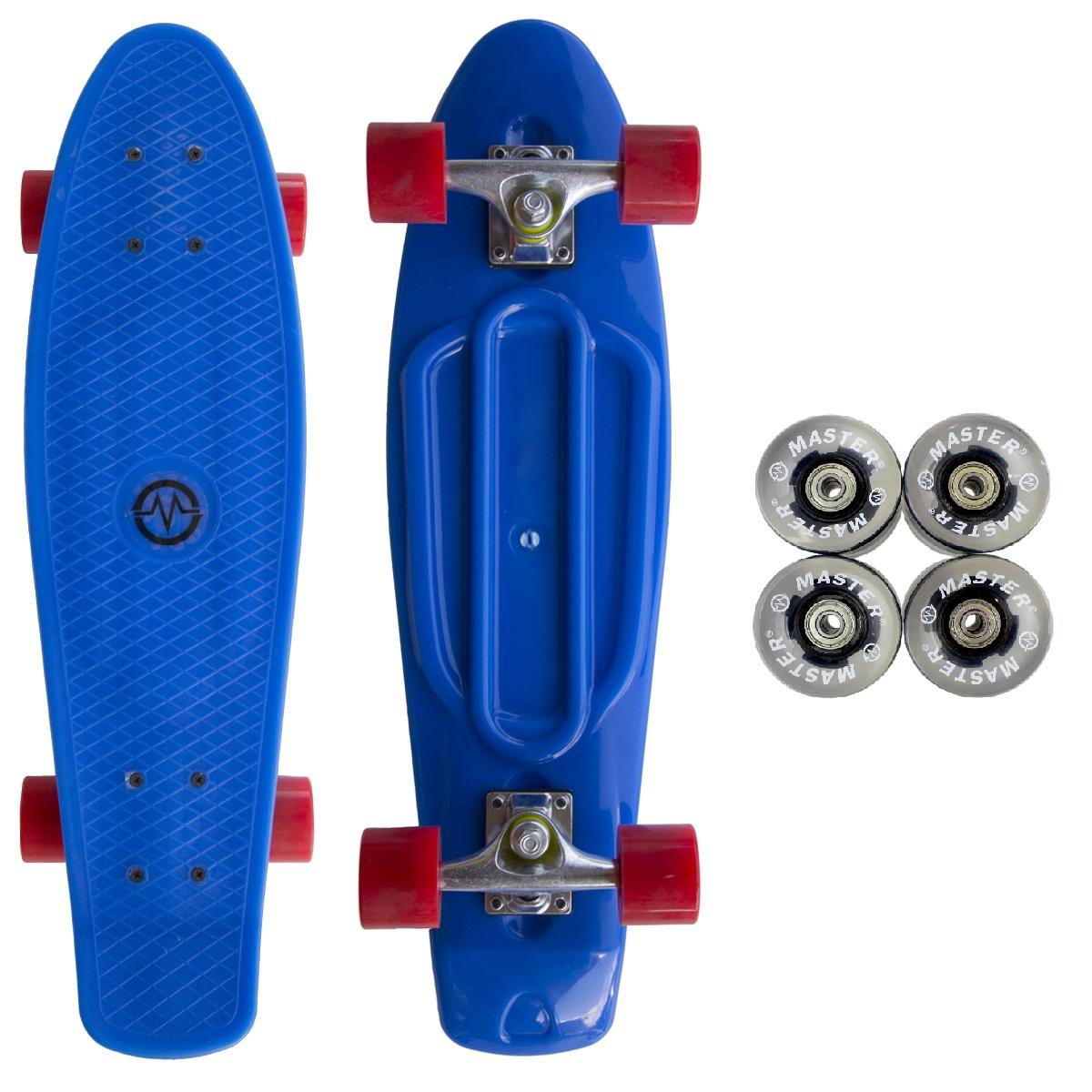 """Akční sada - Plastik Penny Board MASTER 27"""" - modrý + černá svítící kolečka"""