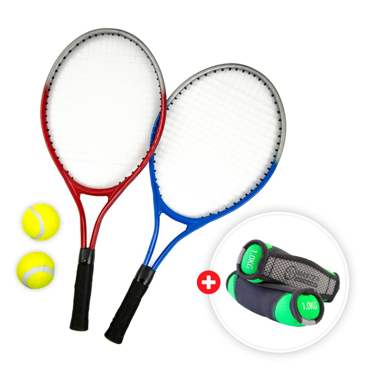 Akční set - tenisový set MASTER - 2 ks raketa síť a míčky + neoprenové činky MASTER Jogging 2 x 1 kg