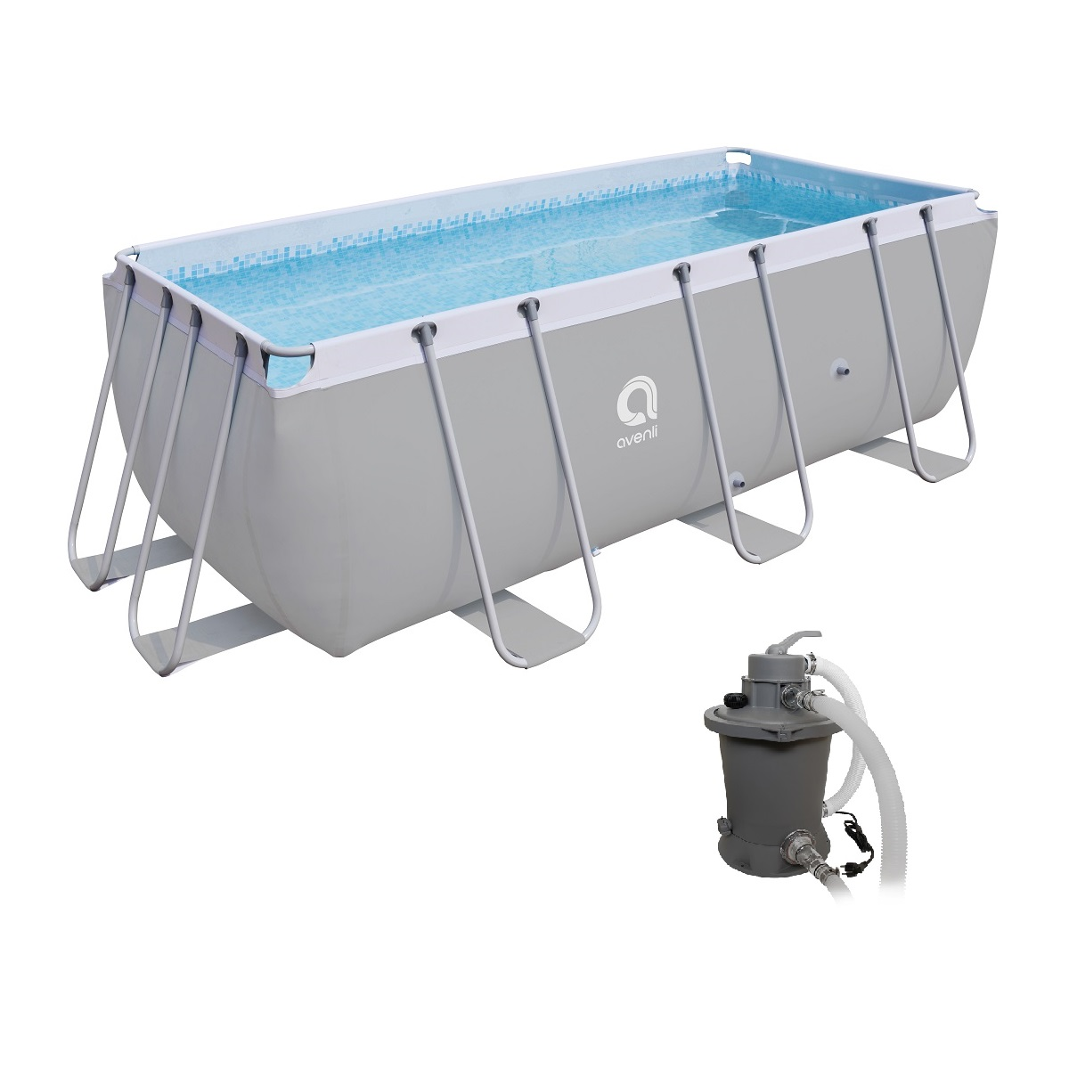 Bazén s pevnou stěnou Passaat Grey 400 x 207 cm set s pískovou filtrací
