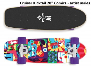 Skateboard STREET SURFING Cruiser Kicktail 28'' Comics
